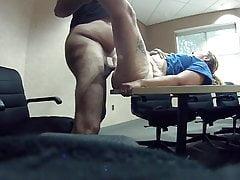 Back by deman look how wet she got my dick
