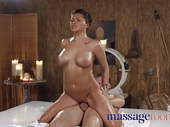 Massage Rooms Big tits Russian Anna Polina oiled and riding