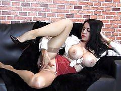 Milf with huge tits teases, nylons, feet, vintage lingerie, high heels